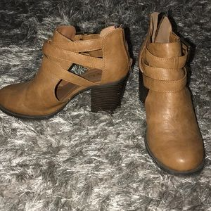 Brown healed booties with buckles